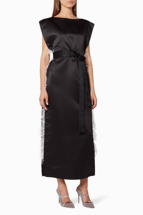 Black Side Feathered Column Dress