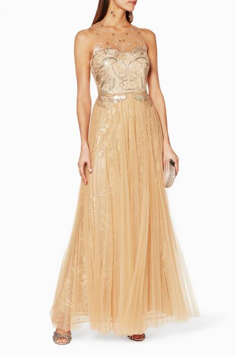 Beige Sequin Embellished Tulle Gown
