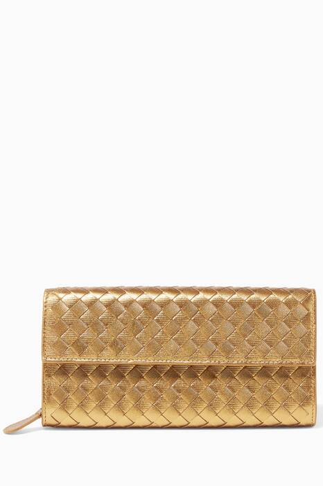 Gold Intrecciato Leather Continental Wallet