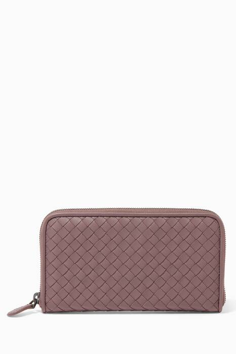Plum Intrecciato Leather Continental Zip Wallet