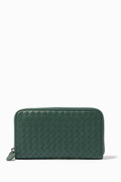 Green Intrecciato Leather Continental Zip Wallet