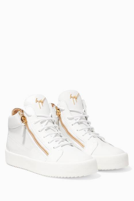 White High-Top Side Zip Sneakers