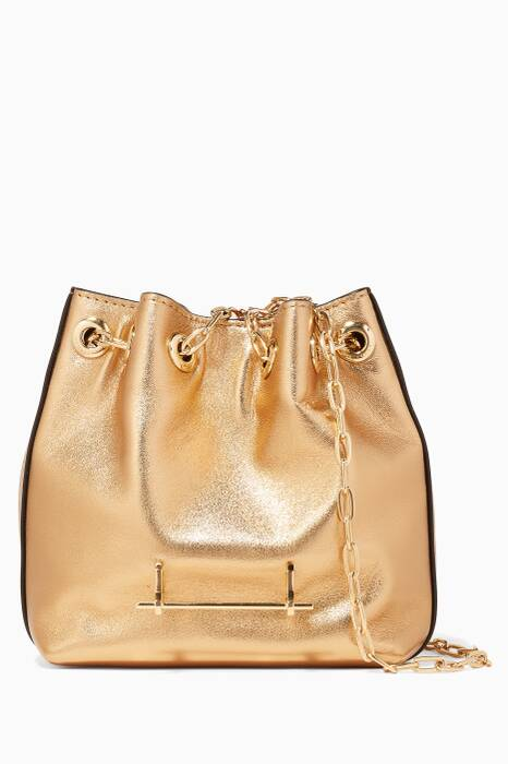 Metallic-Gold Mini Bucket Bag