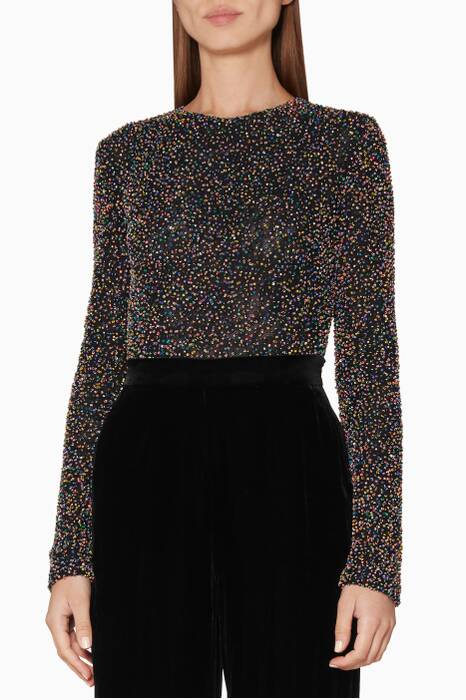 Black Beaded Mesh Long Sleeve Bodysuit