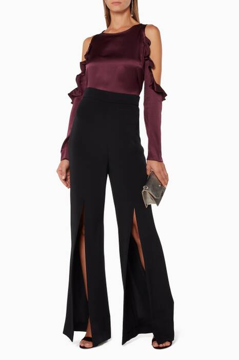 Merlot Ruffled Cold-Shoulder Top