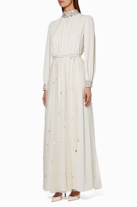 Cream Pearl Embellished High Neck Kaftan