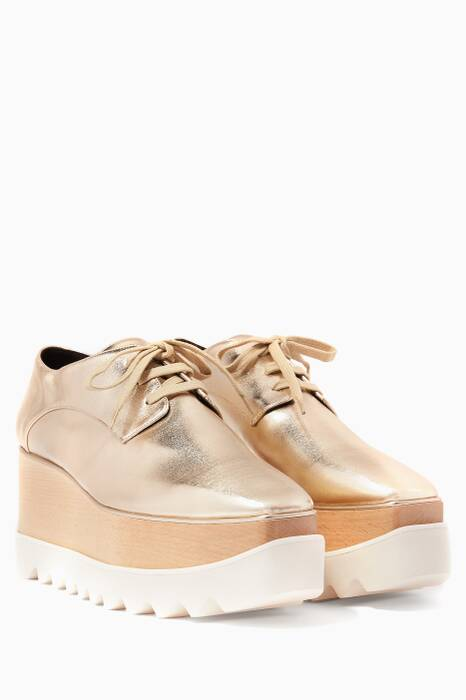 Metallic Gold Elyse Platforms Oxfords