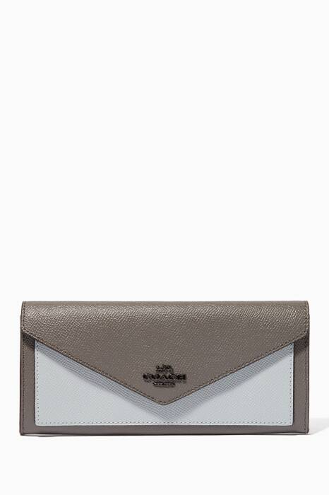 Heather-Grey Colour-Block Soft Wallet