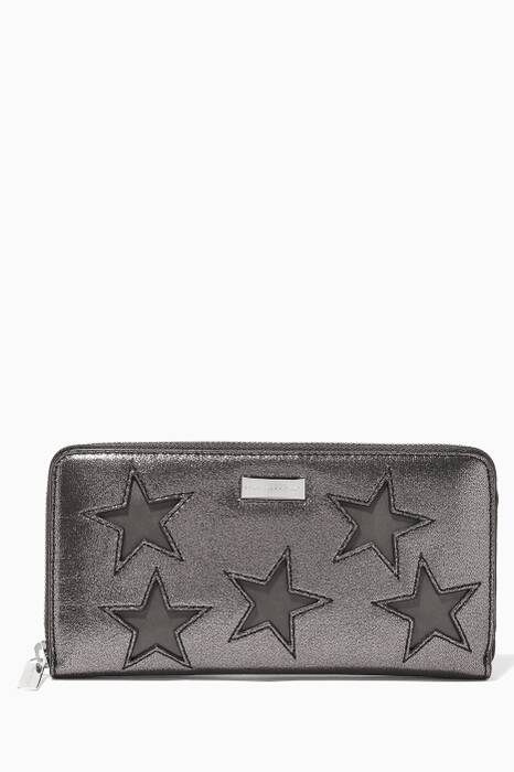 Metallic-Grey Stars Zip Wallet