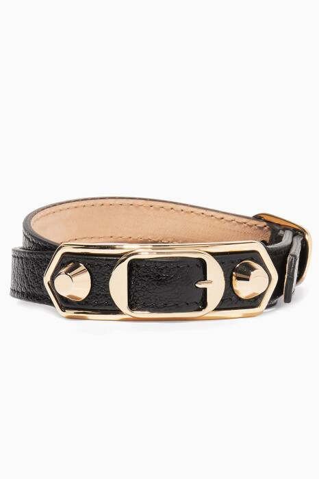 Black Metallic Edge Leather Bracelet