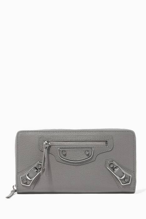 Dark Grey Metallic Edge Continental Zip Around Wallet