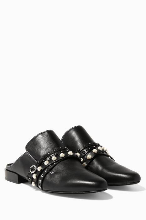 Black Pearl-Studded Louie Backless Loafers