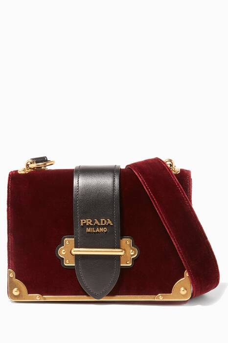 Red & Black Velvet Cahier Shoulder Bag