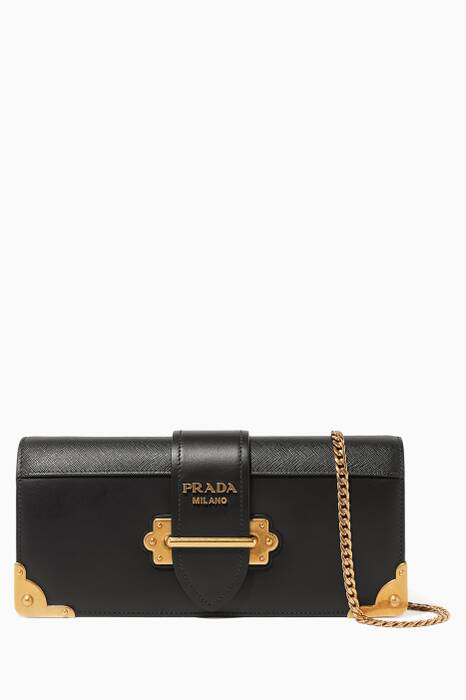 Black Cahier Leather Cross-Body Bag