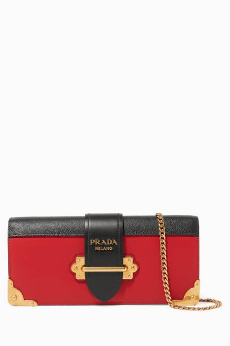 Black & Red Cahier Leather Crossbody Bag