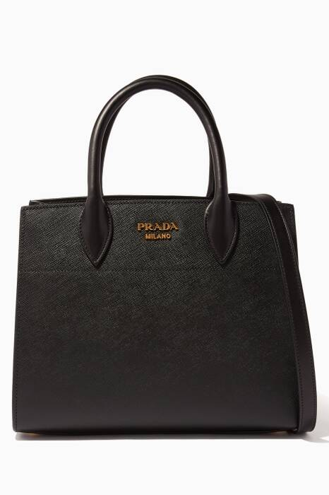 Black Medium Saffiano Bibliothèque Tote Bag