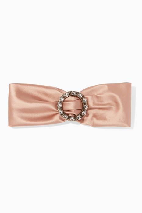 Blush Crystal-Brooch Silk Headband