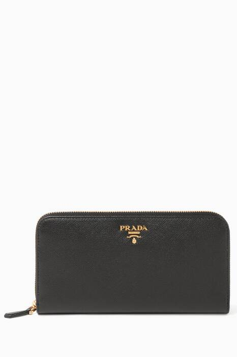 Black Saffiano Zip Around Wallet