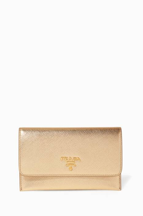 Metallic-Gold Textured Leather Card Holder