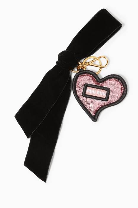 Pink Sequin Heart & Velvet Bag Charm