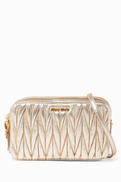 Gold Matelassé Leather Shoulder Bag