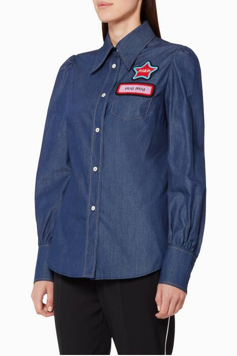 Blue Appliquéd Denim Shirt