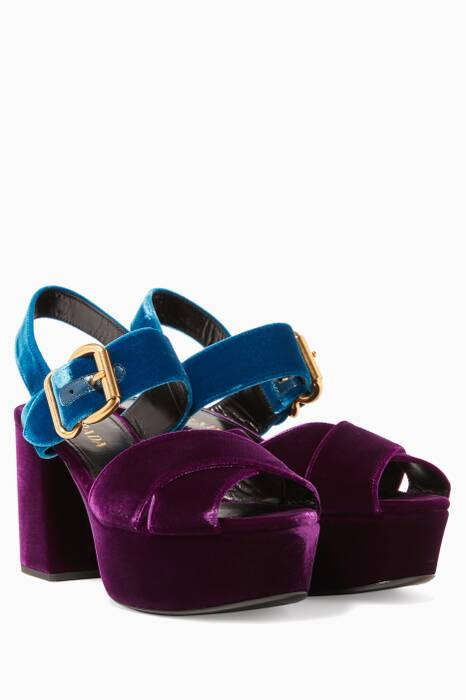 Purple & Blue Criss-Cross Velvet Platform Sandals
