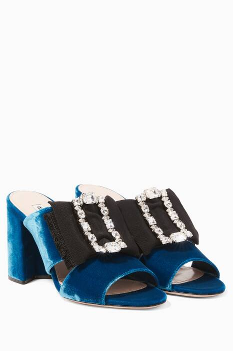 Blue Louis 14th Buckle Velvet Mules