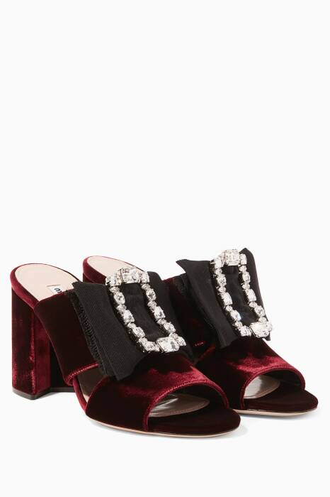 Red Louis 14th Buckle Velvet Mules