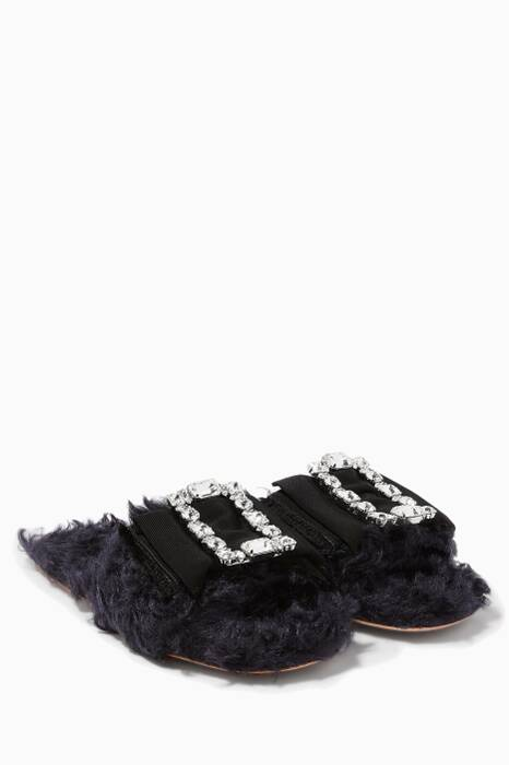 Navy Louis 14th Embellished Buckle Sandals