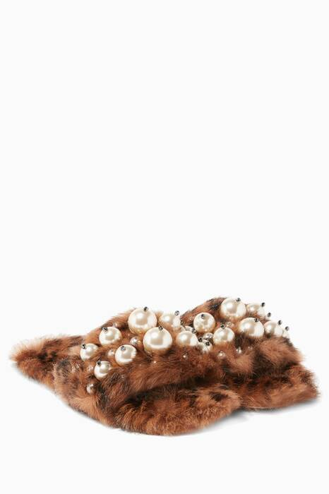 Leopard-Print Eco-Shearling Embellished Sandals