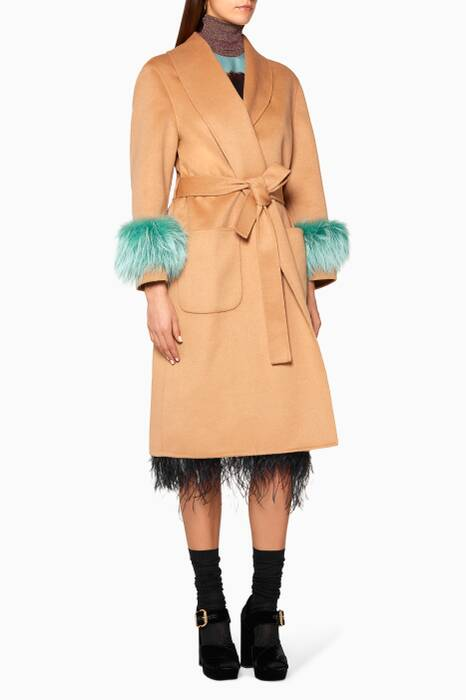 Camel-Brown Single-Breasted Fox Fur-Trimmed Coat
