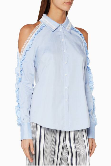 Blue Ruffled-Sleeve Cold-Shoulder Oxford Shirt