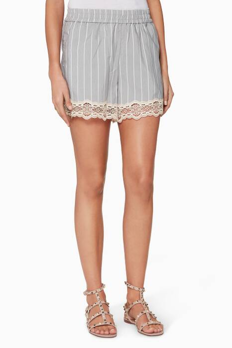 Grey Striped Cotton Lace-Trimmed Shorts