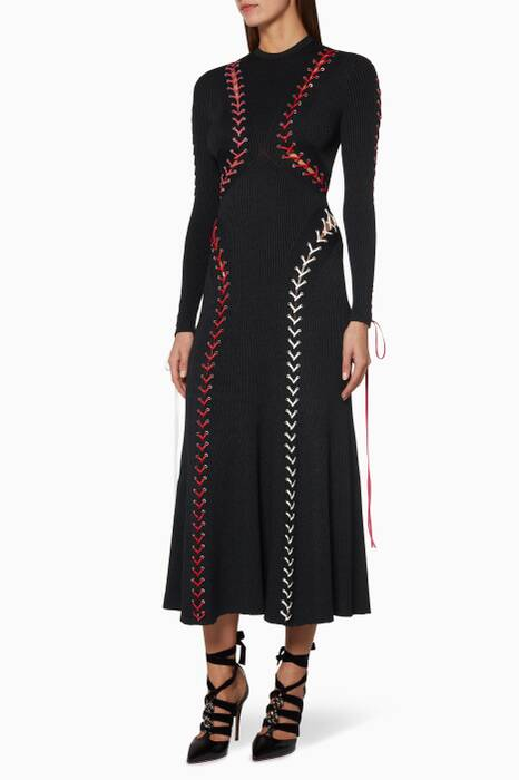 Black Leather Whip-Stitched Dress
