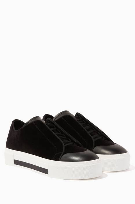 Black Platform Leather Sneakers