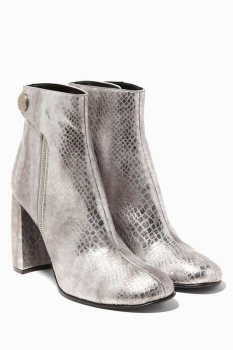 Metallic-Silver Faux-leather Boots