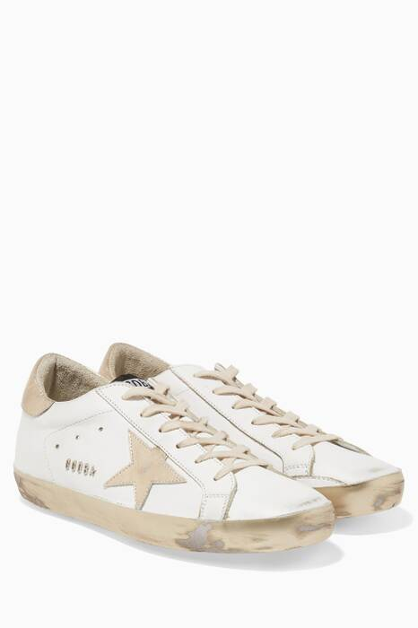 White Shimmer Low-Top Superstar Sneakers
