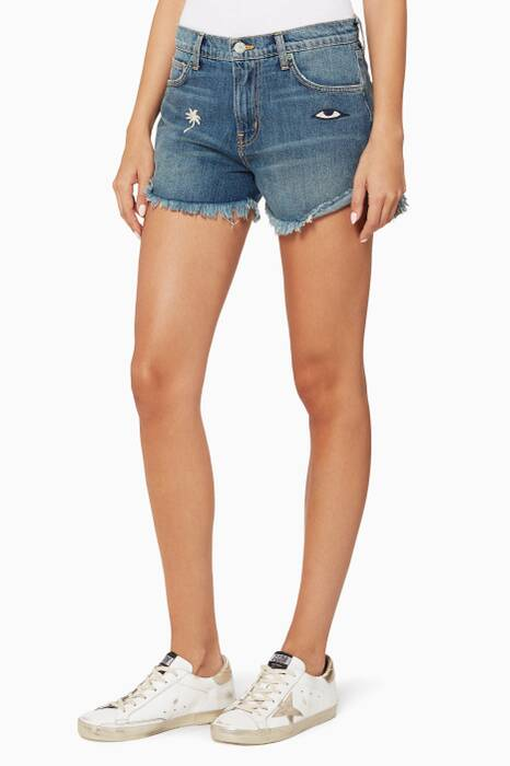 Blue Palm Embroidered Denim Shorts