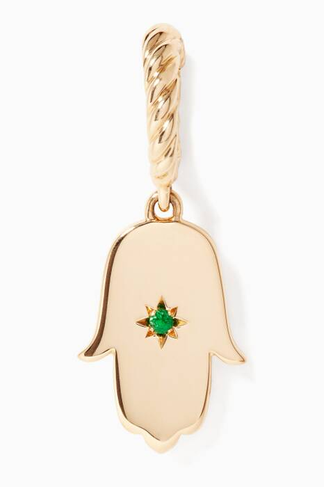 Yellow-Gold & Emerald Exclusive Hamsa Necklace Charm