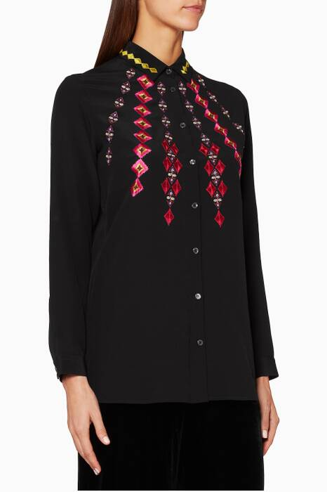 Black Camicia Embroidered Shirt