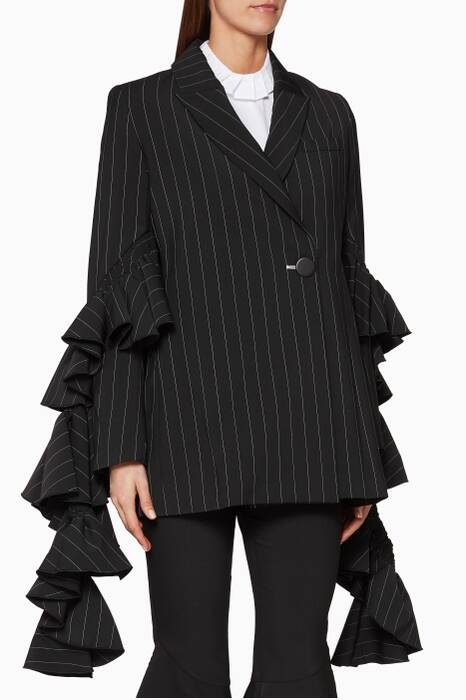 Black Perfect Pitch Pinstriped Jacket