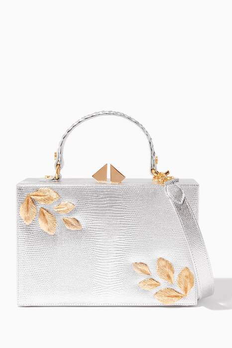 Silver Autumn Lizard-Effect Box Bag