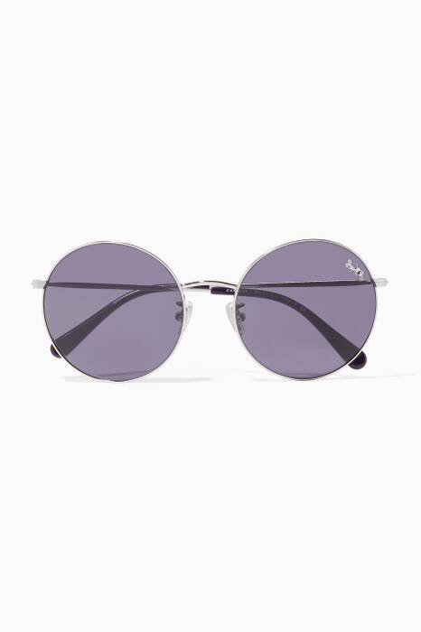 Silver Thin Metal Round-Frame Sunglasses