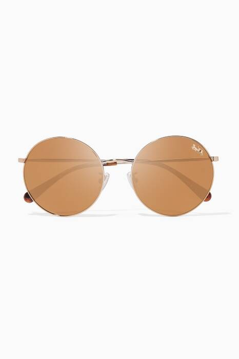 Shiny Light-Gold Thin Metal Round-Frame Sunglasses