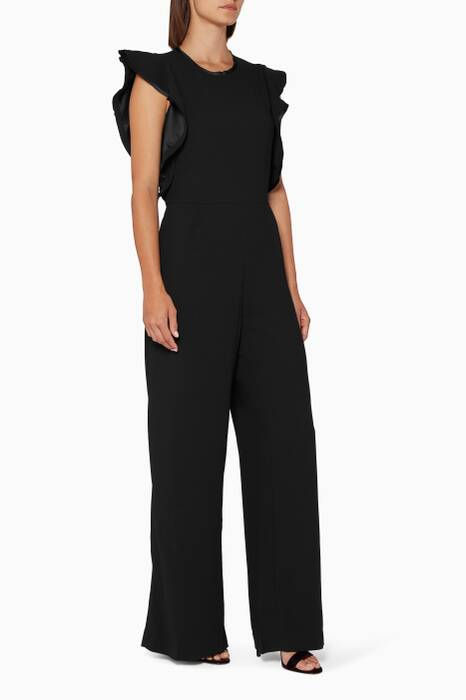 Black Ruffle-Sleeve Jumpsuit