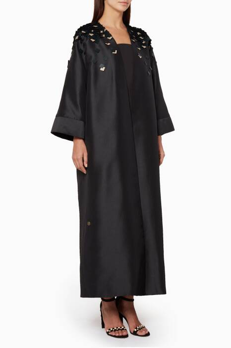 Sequin Embellished Black Taffeta Structured Abaya