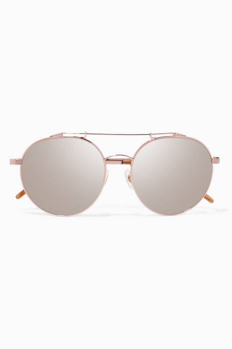 Rose-Gold Combustion 5 Metal Aviator Sunglasses