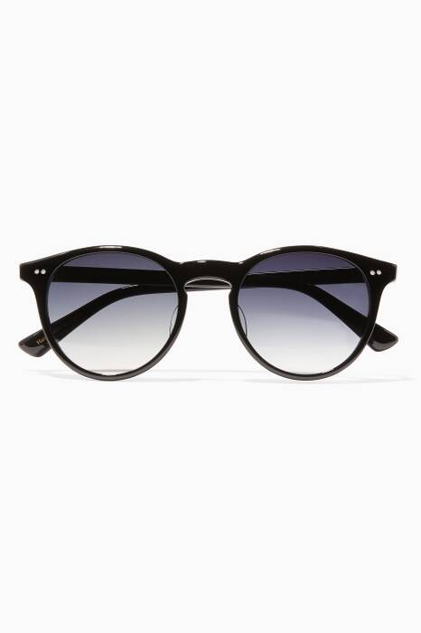 Black Francesco Acetate Round Sunglasses