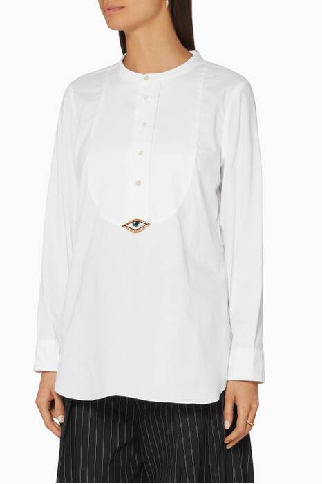 White Evil Eye Tux Shirt